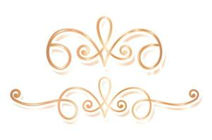 Gold luxury divider ornament set vector