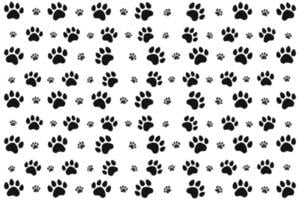Black Animal Paw Pattern vector