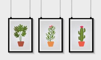 Set of Gallery Frames Mockup vector
