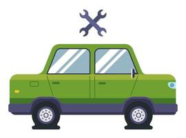 a passenger car has flat tires. need the help of an auto mechanic. flat vector illustration.