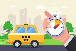 a fast taxi goes to the call. timed the arrival of a taxi with a stopwatch. flat vector illustration.