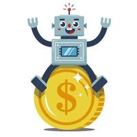 Robot sits on a large gold coin. passive income. joyful worker. flat vector illustration