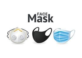 face mask icon set vector design