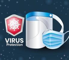 protección antivirus covid 19 con protector facial y mascarilla vector