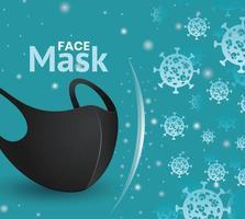 Black face mask banner for coronavirus vector
