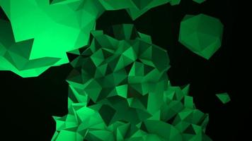 orbe líquido verde abstrato em animação cosmos, fundo preto video