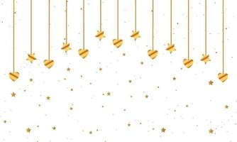 Gold Hearts and Stars Hanging Background
