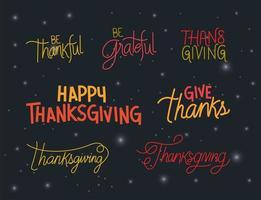 Happy thanksgiving lettering set vector design