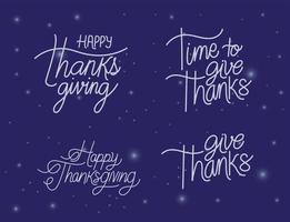 Happy thanksgiving lettering set vector