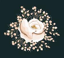 diseño de vector de pintura de flor rosa blanca