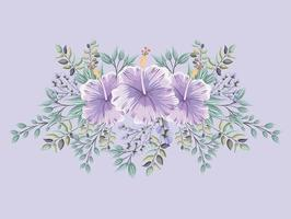 purple hawaiian flowers with leaves painting vector design