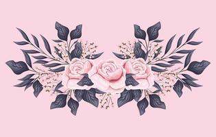 pink rose flowers with leaves painting vector design
