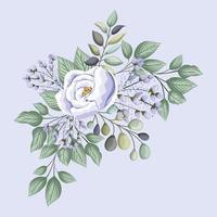 Purple rose flower with leaves painting vector design