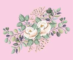 flores rosas blancas con hojas pintura diseño vectorial vector