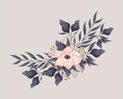 pink flower with leaves painting vector design