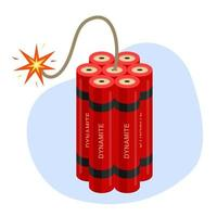 dynamite with a burning wick.  flat vector illustration