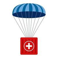 ayuda humanitaria. la carga médica desciende a lugares de difícil acceso con un paracaídas. ilustración plana vector
