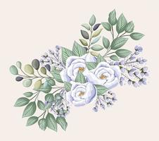 Purple rose flowers with leaves painting vector design