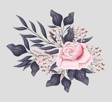 pink rose flower with leaves painting vector design