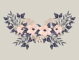pink flowers with leaves painting vector design