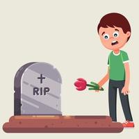 Ceremonia funeral. adiós a los muertos. poniendo flores en la tumba. ilustración vectorial plana vector