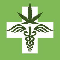 medical marijuana symbol. rod with snakes and wings. therapeutic agent. Cannabis pharmacy. flat vector illustration.