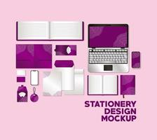 Modern stationery mock-up template vector