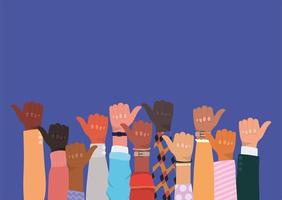 diversity concept with interracial thumbs up vector