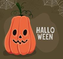 calabaza de halloween con diseño vectorial de telarañas vector
