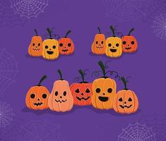 calabazas de halloween con diseño vectorial de telarañas vector