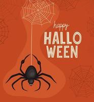 araña de halloween con diseño vectorial de telarañas vector