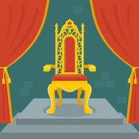 golden throne with red velvet. fairy kingdom. flat vector illustration.