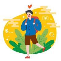 El viajero turístico está caminando en la naturaleza con una mochila. Ilustración de vector de personaje plano.