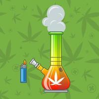 rainbow bong for smoking marijuana. flat vector illustration.