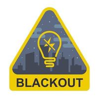 blackout sign. yellow triangle with a light bulb on a city background. flat vector illustration.