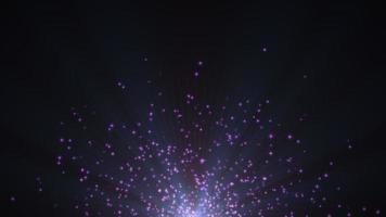 mouvement et voler des étoiles bleues et des paillettes sur fond sombre video