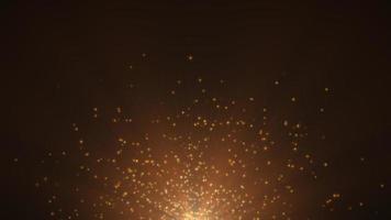 mouvement et voler des étoiles jaunes et des paillettes sur fond sombre video