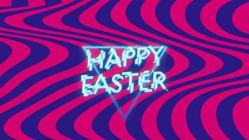 texto de animação feliz páscoa em ondas azuis e vermelhas hipster e fundo grunge video