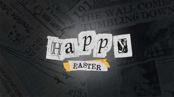 texto de animação feliz páscoa em hipster preto e fundo grunge com papel video