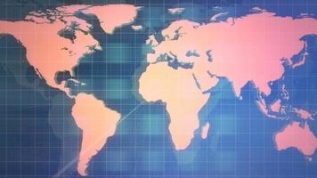 animação gráfica de notícias com grade e mapa-múndi, fundo abstrato video