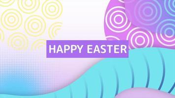 Animationstext glücklich Ostern und Bewegung abstrakte geometrische Formen, Memphis Hintergrund video