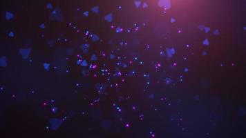 animatie close-up beweging kleine romantische harten en glitters op paarse Valentijnsdag glanzende achtergrond. video