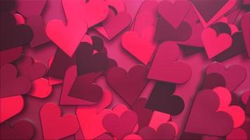 animatie close-up beweging kleine romantische harten patroon op rode Valentijnsdag glanzende achtergrond. video