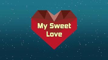 geanimeerde close-up mijn zoete liefde tekst en beweging romantisch geometrisch groot rood hart op Valentijnsdag achtergrond video