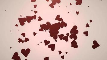 animering närbild rörelse små romantiska hjärtan på rosa alla hjärtans dag blank bakgrund.
