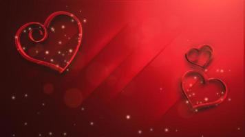animatie close-up beweging kleine romantische harten met glitters op rode Valentijnsdag glanzende achtergrond. video