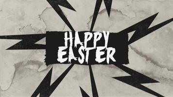 animatietekst vrolijk Pasen op retro hipster en grunge achtergrond met bliksemschicht video