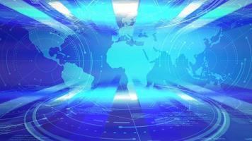 animação gráfica de notícias com linhas e mapa-múndi, fundo abstrato video