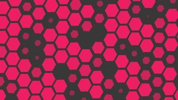 introdução de movimento geométrico néon vermelho pequenos hexágonos, fundo abstrato