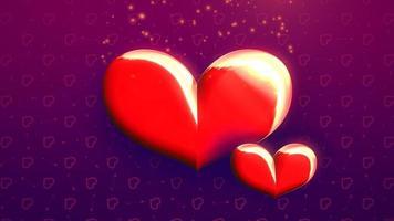 animação closeup movimento grandes e pequenos corações românticos com brilhos no fundo brilhante roxo do dia dos namorados. video